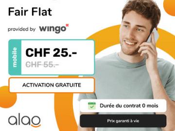 alao mobile : CHF 35.- de réduction sur votre abonnement Wingo Fair Flat
