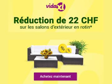 Code promo VidaXL : CHF 22.- de réduction sur le mobilier d'extérieur en rotin